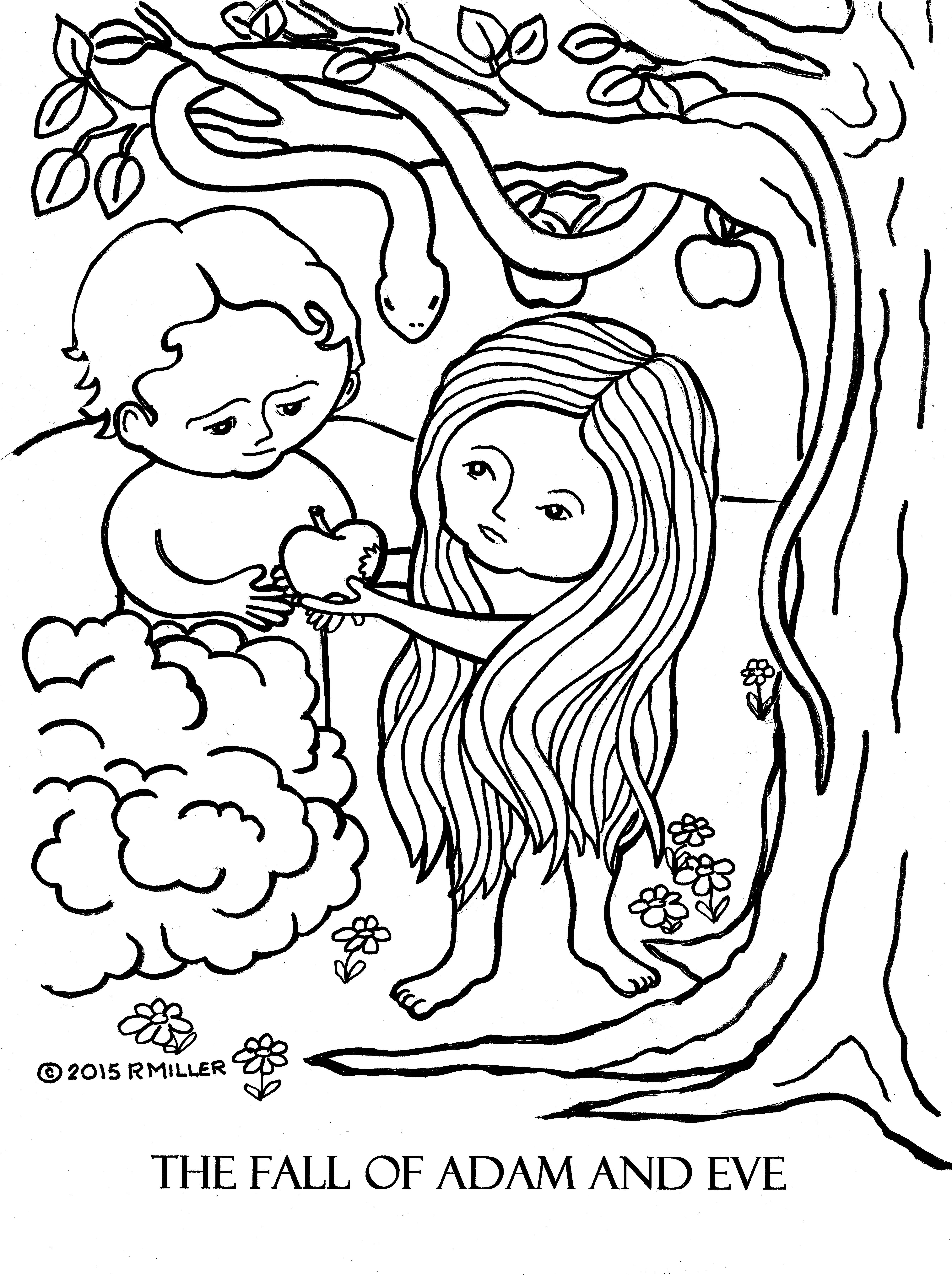 A Day 3 The Fall Of Adam And Eve Coloring Page Lg File HI RES