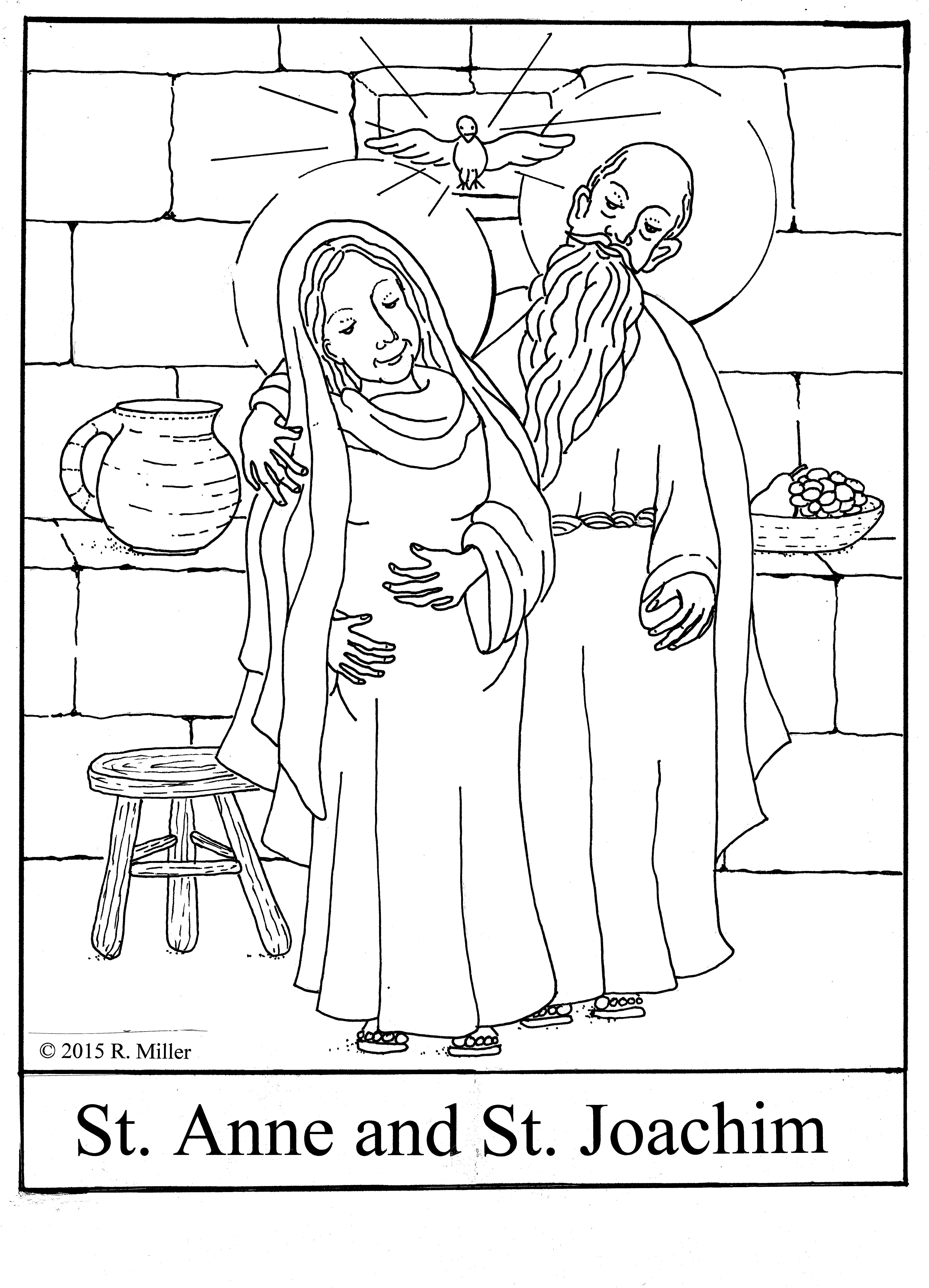 Saint Anne And Joachim C 2015 R Miller Coloring Page